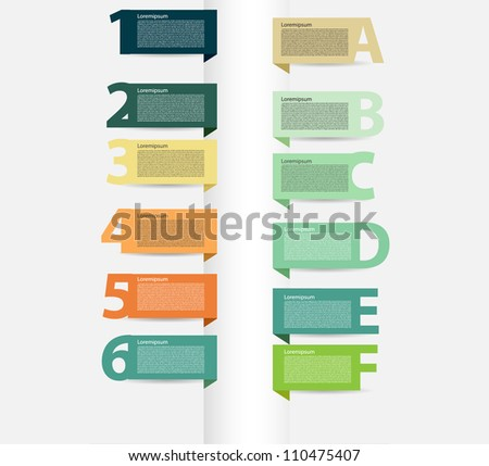 Vector presentations with letters and numbers - stock vector