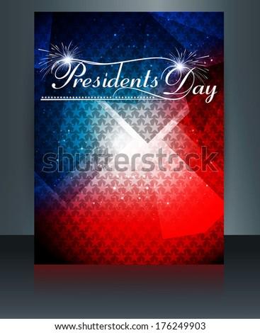 Vector President Day in United States of America brochure template design - stock vector