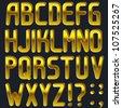 Vector pressed gold font, full alphabet - stock vector