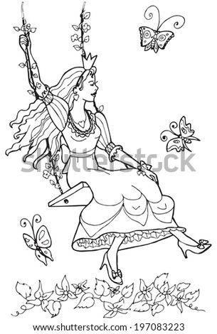 Vector  princess on the seesaw.Part of my series illustrations for coloring book. - stock vector
