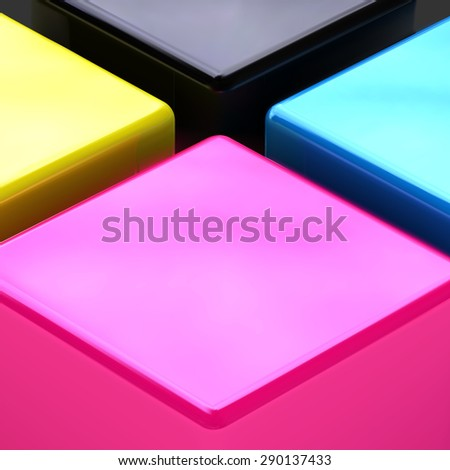 Vector print service background. CMYK drawing illustration. CMYK target for print business. Printing technology, polygraph colors. - stock vector