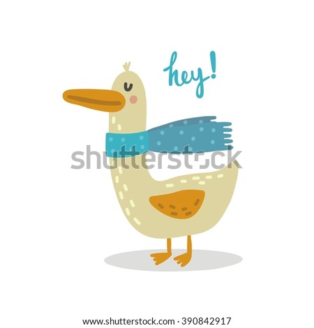 Vector print with goose - stock vector