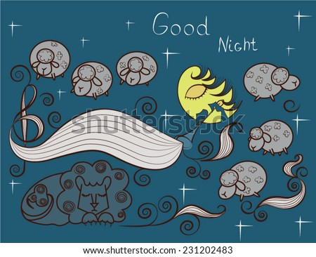 Vector print with images cute sheep on background night sky with moon and wish good night. Cartoon style night sky  - stock vector