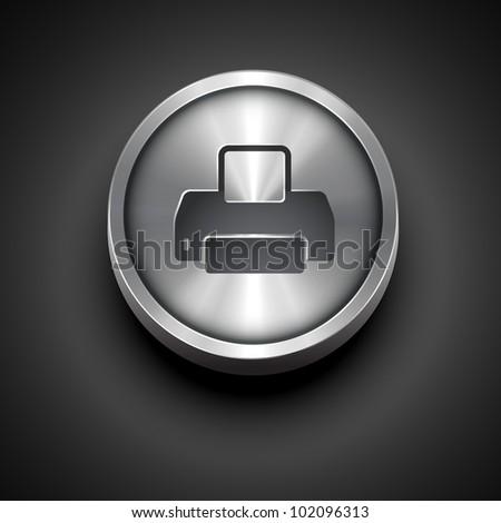 vector printer metallic icon design - stock vector
