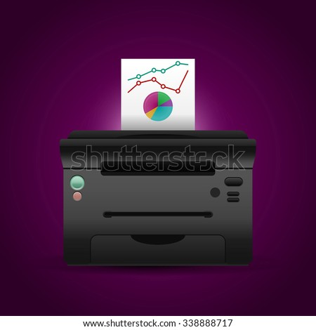 Vector printer with paper and color diagrams.  - stock vector