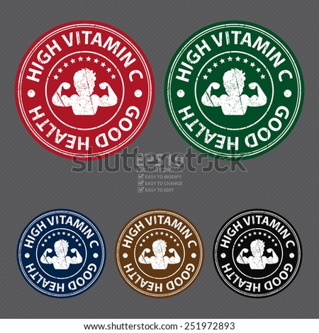 Vector : Product Information Material or Ingredient, Circle High Vitamin C Good Health Grunge Sticker, Rubber Stamp, Icon, Tag or Label - stock vector