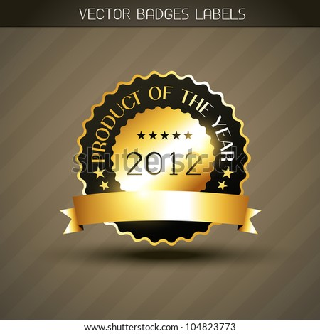 vector product of the year golden label - stock vector