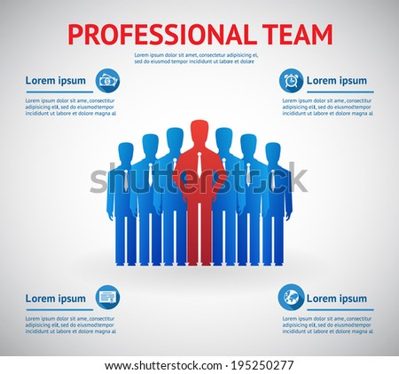 Vector professional team concept. Silhouette of team of people with red leader - stock vector