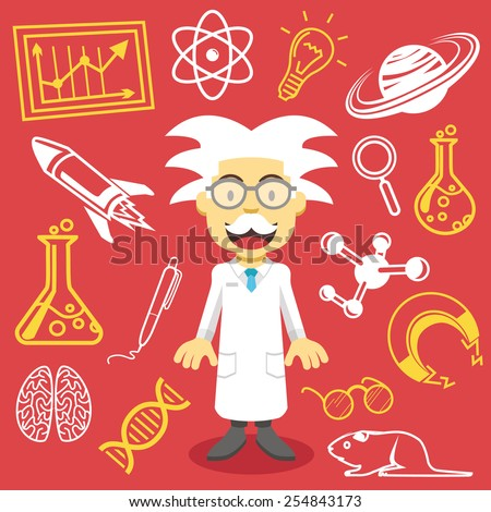 Vector professor and science icons vector illustration.Creative graphic design concept. Cute scientist mascot and contemporary research icons, pictograms, symbols, signs. Isolated on red background. - stock vector