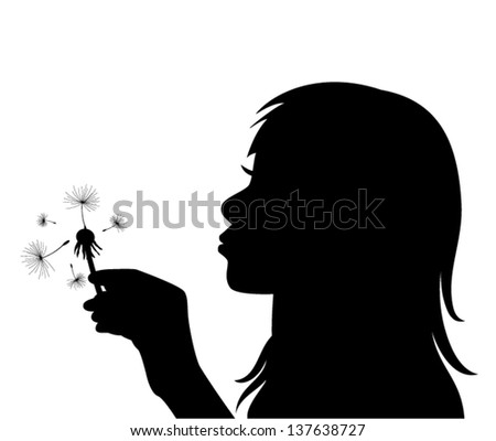 vector profile of a girl blowing the dandelion - stock vector