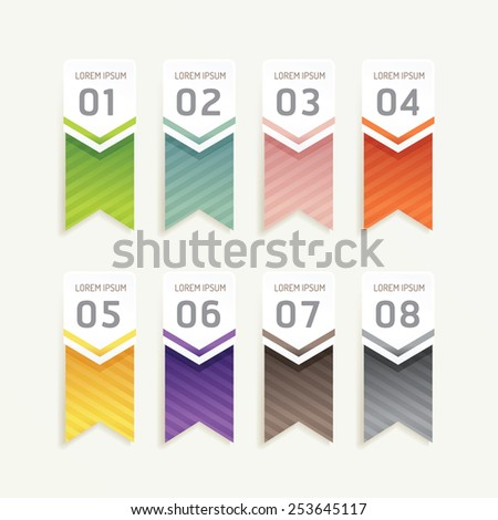 vector progress banners with ribbon colorful tags./ can be used for infographics / number banner / number options /concept graphic or web design layout. - stock vector