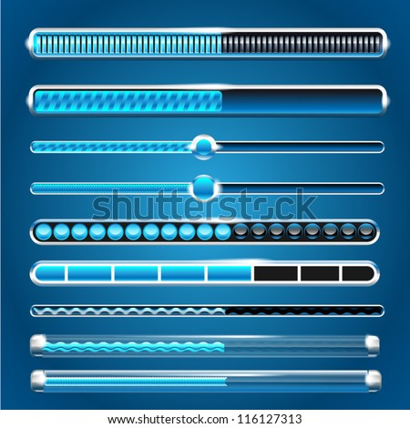 vector progress loading bars set - stock vector