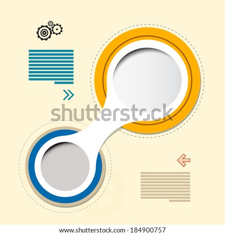 Vector Progress Steps for Tutorial, Retro Paper Circle Infographics - stock vector
