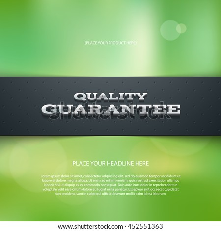 Vector promo banner with shadow and blurry bokeh background. Quality guarantee. Dotted stripe. 3d metallic typography. Flyer design template. Web advertisement. - stock vector