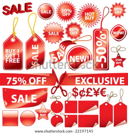 Vector Promotional Elements Set (each on individual layers) - stock vector