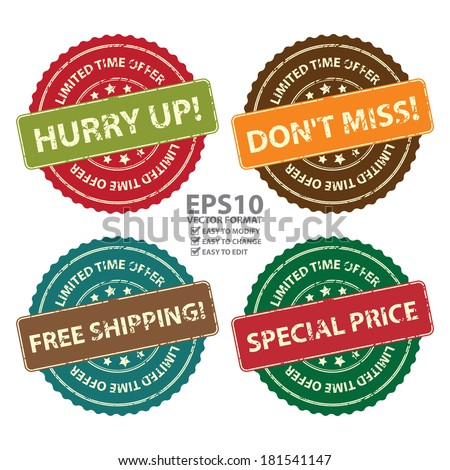 Vector : Promotional or Marketing Material, Sticker, Rubber Stamp, Icon or Label for Limited Time Offer Hurry Up, Don't Miss, Free Shipping and Special Price Event Isolated on White Background - stock vector