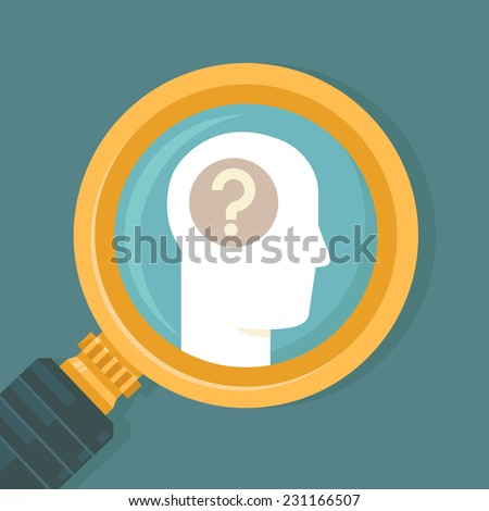 Vector psychology concept in flat style - human brain icon and magnifier - stock vector