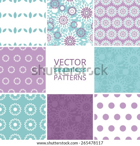Vector purple and blue floral abstract set of eight matching repeating seamless patterns backgrounds - stock vector