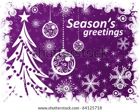 Vector purple background with christmas tree, balls, snowflakes and ice frame border - stock vector