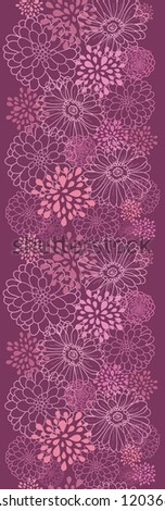 Vector purple field flowers elegant vertical seamless ornament pattern background with hand drawn line art floral elements. - stock vector