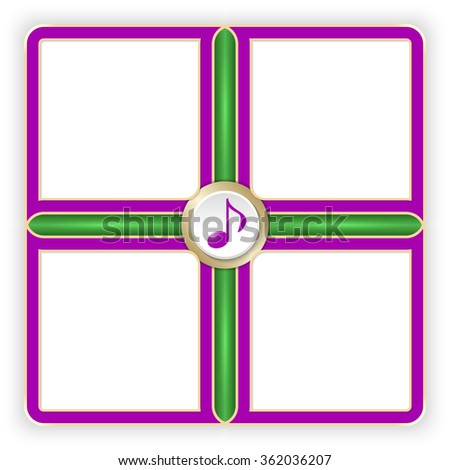 Vector purple frames for your text and music symbol - stock vector