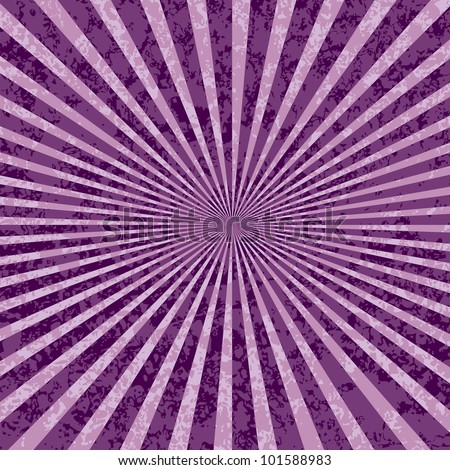 vector purple rays abstract grunge background - stock vector