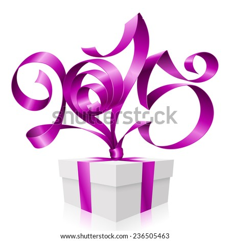 Vector purple ribbon in the shape of 2015 and gift box. Symbol of New Year - stock vector