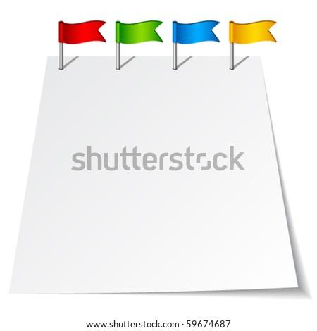 vector push pin flags - stock vector