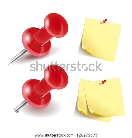 Vector Pushpin icon and note paper isolated on white - stock vector