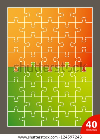 Vector puzzle, 40 elements - stock vector