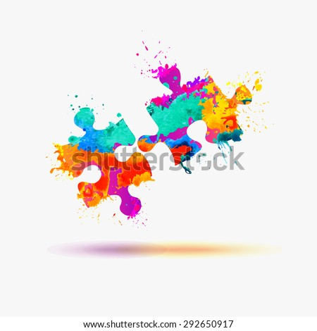 Vector puzzle symbol. Watercolor splashes  - stock vector