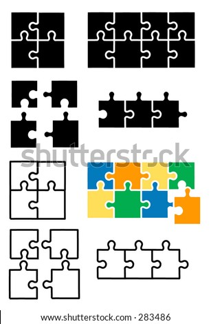 Vector puzzle with detachable puzzle pieces - stock vector