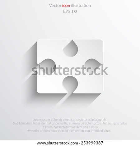 Vector puzzles piece web flat icon. Eps 10. - stock vector