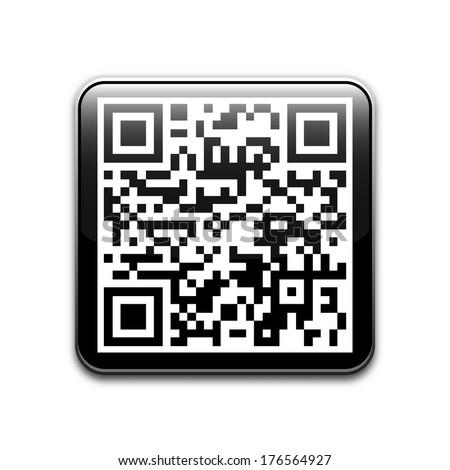 Vector QR code icon - stock vector