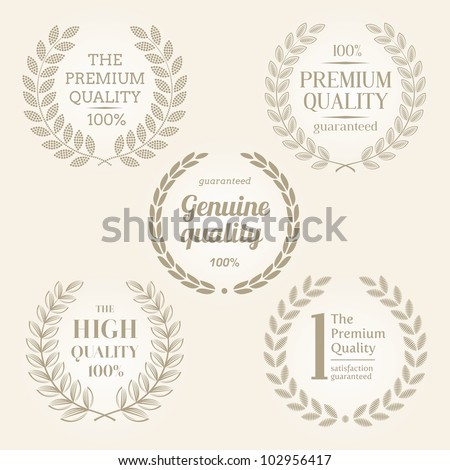 Vector quality emblems with laurel wreath - stock vector