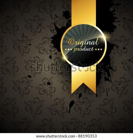 vector quality golden label sign on grunge background - stock vector