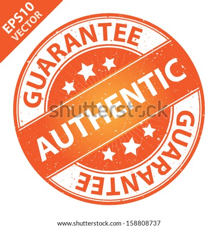 Vector : Quality Management Systems, Quality Assurance and Quality Control Concept Present By Authentic Label on Orange Grunge Glossy Style Icon With Guarantee Text Around Isolated on White Background - stock vector