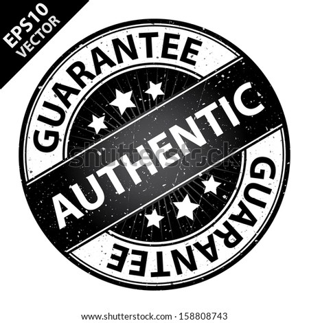 Vector : Quality Management Systems, Quality Assurance and Quality Control Concept Present By Authentic Label on Black Grunge Glossy Style Icon With Guarantee Text Around Isolated on White Background  - stock vector