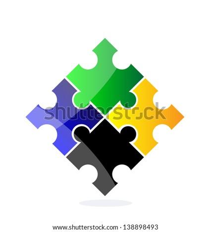 Vector quarter-foil or clover isolated over white background. Logo. - stock vector