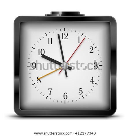 Vector Quartz Alarm Clock  Design, Black Colored. Vector illustration - stock vector