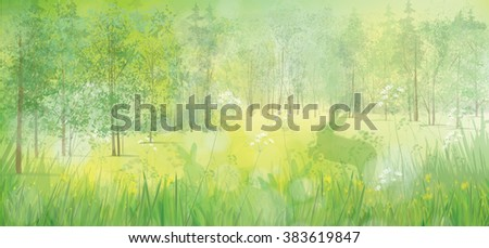 Vector rabbits in grass, spring  forest background. - stock vector