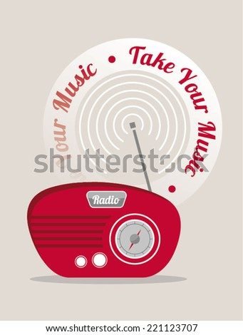 Vector radio illustration. - stock vector