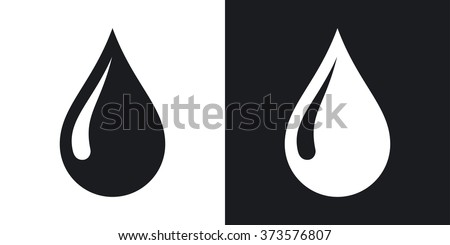 Vector rain drop icon. Two-tone version on black and white background - stock vector