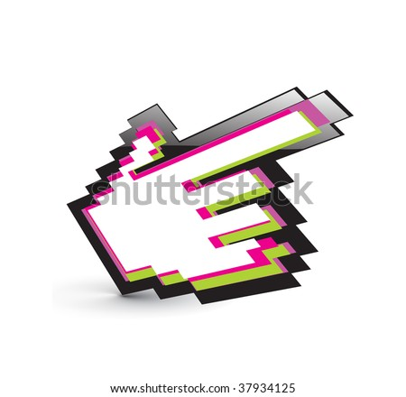 vector rainbow color hand mouse symbol with white background - stock vector