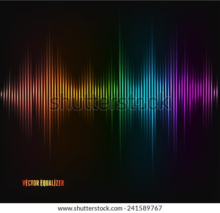 Vector rainbow equalizer, colorful musical bar. Dark background - stock vector