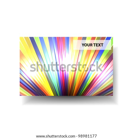 Vector rainbow glossy gift card / business card layout - stock vector