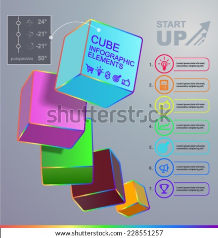 Vector rainbow infographics with cubes - stock vector