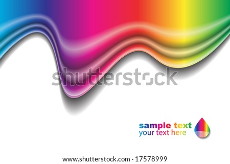 Vector - Rainbow liquid forming a wave. No gradient mesh used. - stock vector