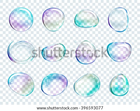 Vector Rainbow Soap Water Bubbles Set. Transparent Isolated Realistic Design Elements. Can be used with any Background. - stock vector