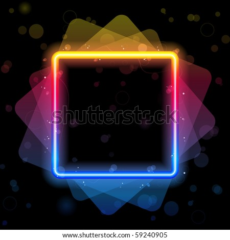 Vector - Rainbow Square Border with Sparkles and Swirls. - stock vector